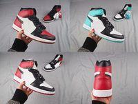 Wholesale nylons toe - 2018 New 1 1s High OG Black Toe Black Red Bohelv Men's Sneakers Sports Basketball Shoes Free Shipping