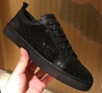 17 deri toptan satış-17 siyah kristal toptan Erkekler ve kadınlar unisex Ayakkabı Kırmızı Alt Taban Sneakers Parti Düğün Ayakkabı Hakiki Deri Yüksek top Çivili Spike S
