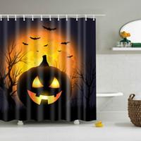 ingrosso volare cielo luci-22 Styles Halloween Shower Curtains Pipistrello Pipistrello Luna Disegni Impermeabile Poliestere Bagno Doccia Tende Bagno Tenda Spedizione Gratuita