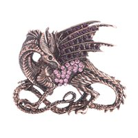 grandes grosses broches en strass achat en gros de-Film classique Vintage strass Game of Thrones Pourpre Dragon Broche Pin Antique Cristal Grande Broche Femelle Grand Broches Mâles