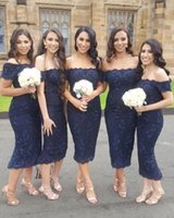 Wholesale sleeveless tea length bridesmaid dresses resale online - 2018 Navy Blue Country Bridesmaids Dresses Off The Shoulder Beaded Wedding Guest Dress Appliqued Tea Length Cheap Maid Of Honor Gowns