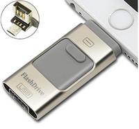 Wholesale Otg Drive - I-USB Storer 3 In 1 OTG USB 2.0 I-Flash Drive Real 8GB 16GB 32GB 64GB 128GB 256GB I Flash Drive for Android IOS Windows