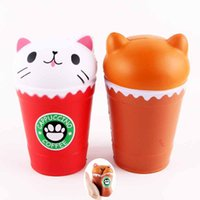 Wholesale Plastic Pussy - 2018 New fashion Squishies Cat Coffee Cup 14cm Jumbo Pussy Squeeze Squishy Kawaii Cute Animal Slow Rising Scented Bread Cake Kid Toys