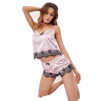 conjunto de cami de encaje al por mayor-ELEXS Pink Spaghetti Strap Lace Applique Satin Cami Top y Shorts Conjunto de pijama Fall Womens Sleepwear Conjunto de pijama