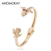 цветы из розового золота оптовых-European American Trendy Rose Flower Cuff Bracelet Gold Color Wristband Open Bracelets for Women Bangles  Jewelry Gift