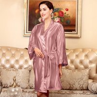 f21605480e Sexy Kimono Silk Bathrobe Bridesmaid Robes Female Red Robe Pajama Bath Robe  Ladies Chinese Kimono Home Wear