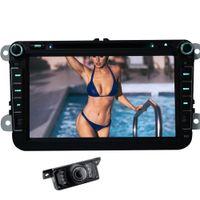 araba gps ücretsiz harita wifi toptan satış-Rearciew Kamera + 8 '' VW Can-otobüs için Araba DVD Oynatıcı Bluetooth Hands-Free GPS RDS Radyo Wifi Ayna Bağlantı Haritası Otomotiv Araba Stereo Ana ünite