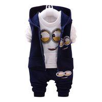 ingrosso ragazza di tuta gialla-Brand Boys Girls Baby 1-4 Yellow 3piece Suit Abbigliamento per bambini Abbigliamento per bambini Tute a maniche lunghe