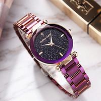 relojes de diamantes púrpura al por mayor-2018 New Diamond Rhombus Mirror Ladies Watch Starry Sky Dial Purple Wristband Mujeres Moda Vestido Reloj de pulsera para HANNAH MARTIN Brand