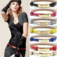 Wholesale wholesale black leather skirt - Multi Colors PU Leather Belt Simple Narrow Skirt Decoration Wasti Belts Casual Waistband For Women Black Yellow 7sp B
