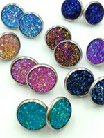 fake ear studs Australia - Mini Round Fake Resin Druzy Stone Ear Stud Metallic Gold Druzy Post Earring