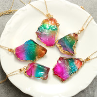 Wholesale agate pendant free shipping for sale - Group buy Sweater Chain Irregular Natural Hand Pendant New Rainbow Colorful Crafts Gifts Seven Colour Stone Necklace yh V