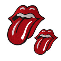 Wholesale Red Hat Appliques - 2 Sizes Embroidered Red Tongue Mouth Patches Sewing Iron On Creative Badge For Bag Jeans Hat Appliques DIY Handwork Sticker Decoration