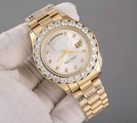 Wholesale mother pearl watches - 2017 Luxury Brand Gold President Day-Date Diamonds Watch Men Stainless Mother of Pearl Dial Diamond Bezel Automatic WristWatch AAA Watches