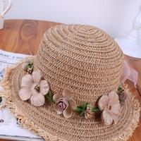 ruban de paille rose achat en gros de-2018 nouvelles dames respirant chapeau de paille femmes été rose guirlande ruban rose Chapeau Femme vague large bord plage Cap Panama