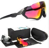 unisex gözlük toptan satış-Uçuş Ceket Bisiklet Gözlük OO9401 Erkekler Moda Polarize TR90 Güneş Gözlüğü Açık Spor Koşu Gözlük 3 lens açık bisiklet güneş gözlüğü