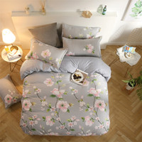 ingrosso biancheria bianca rosa grigia adulta-Biancheria da letto grigia con fiore rosa / bianco Foglia verde Bella biancheria da letto 4 pezzi / Biancheria da letto / federe floreali