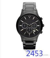 функциональный бренд оптовых-Мужские часы мода Спортивные кварцевые часы из нержавеющей стали черный сетки Марка мужские часы многофункциональный наручные часы хронограф AR2453 2453