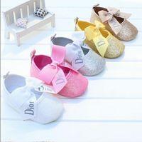 chaussures pour bébés à semelle souple achat en gros de-Bébé Fille en coton First Walker Toddler Sequin Infant Chaussures à semelle souple Fond souple Bebe Chaussures