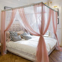 camas king românticas venda por atacado-Jade cor / branco luxo Romântico de Três Portas cama de Casal mosquiteiro Tem frame Completa Rainha King Size Casa Decoração conjunto de cama