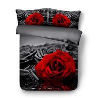 juego de cama 3d rosas al por mayor-4 / 6pcs rosas románticas funda nórdica de color rojo para los amantes novia regalo HD Digital 3d rosa ropa de cama fija Single Queen tamaño King completa