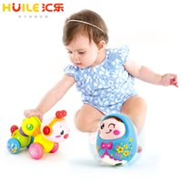 Wholesale Battery Operated Dolls - Cartoon Tumbler Doll Roly-poly Mobile Musical Rattles Toys For baby & Bebe Worm Press function with music light