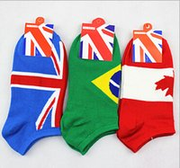 Wholesale funny countries - 20 Pairs 100% Cotton American Flag Invisible socks Men Funny Country Flag Designer Cotton Fashion Casual Ankle Sport Socks
