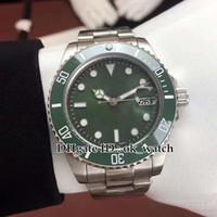 зеленая рамка автоматическая оптовых-Высокое качество 40 мм Зеленый циферблат Керамическая рамка 116610LV 116610 Автоматические мужские часы Asian 2813 Движение Гентские часы платье стальная рука