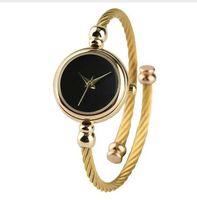oberflächenarmbanduhren großhandel-Minimalistische Frauen Uhren Gold Edelstahl Armband Blank Oberfläche Schlank Europäischen Stil Mädchen Quarz Armbanduhr Damen