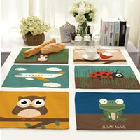 Wholesale Beatles Style - CAMMITEVER Cartoon Owl Rabbit Plane Bird Cruise Ship Truck Beatles Dinner Pad Festival Table Decoration Silicone Placemat