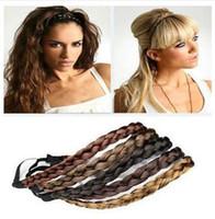 sentetik saç kafa bantları toptan satış-Isnice Moda Kadınlar Kız Sentetik Saç Plaited Plait Elastik Kafa Hairband Örgülü Band Saç aksesuarları Bohem Stili