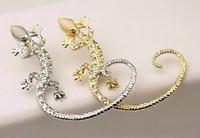 joyas de gecko al por mayor-Earcuff Fashion Ear Cuff Rhinestone Pendientes Ear Cuff Luxury Golden Plated Exagerado Gecko Lizard Stud Pendientes Joyas de cristal