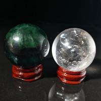 fluorit-kristallkugel großhandel-2 Stück Natural Clear White Quarz Grün Fluorit Crystal Quartz Kugel Ball + Stand etwa 200 g