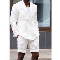 casacos de smoking venda por atacado-Homem branco Se adapte Double Breasted Blazer Calças Curtas de Duas Peças Casual Estilo Casaco Masculino Noivo Do Casamento Smoking