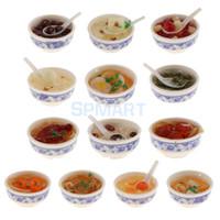 ingrosso decorazioni cinesi della cucina-1/1 Scale Dollhouse Miniature Miniature Cucina cinese Tavolo da pranzo Decorazione Accessori