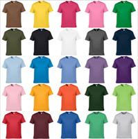 diseño del cuello de la camiseta al por mayor-Venta directa impresión personalizada camiseta diseño de los hombres de color puro cuello redondo de algodón camisa de manga corta logotipo de la manera libre DIY impreso camiseta