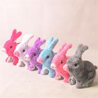 Wholesale cute stuffed animals monkeys - Electric Rabbit Toy Deft Design LED Cute Fluffy Luminous Rabbits Can Jumping And Mouse Sounding Simulation Stuffed Plush Animal 4 6yq Z