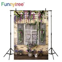 pared de ladrillo prop al por mayor-Fondo de Funnytree para estudio fotográfico Soporte de flor ventana de madera vintage jardín pared de ladrillo telón de fondo telón de fondo foto