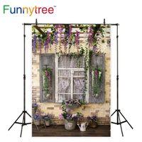 spray vintage achat en gros de-Funnytree fond pour studio photo support de fleurs vintage bois fenêtre jardin brique mur photographie toile de fond photocall prop