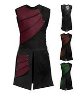 mittelalterliche cosplay kostüme großhandel-Erwachsene Männer mittelalterlichen Bogenschütze Larp Ritter Held Kostüm Krieger schwarze Rüstung Outfit römische Solider Getriebe Mantel Kleidung M-3XL Cosplay