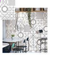 moderne küchenfliesen großhandel-Nordic schwarz und weiß Linie Fliesen 300 * 300 WC Wandfliesen Wohnzimmer Küche Fliesen einfache moderne Ziegel