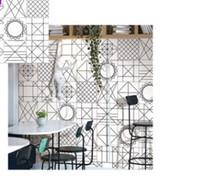 ingrosso piastrelle bianche per la cucina-Piastrelle di linea nordica in bianco e nero 300 * 300 piastrelle per wc piastrelle della cucina del soggiorno semplici mattoni moderni