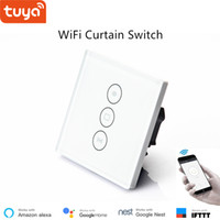 Wholesale infrared glasses resale online - Smart life tuya app control WiFi Curtain switch EU UK standard Glass Touch panel voice google home Alexa compatible smart home