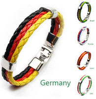 Wholesale spain leather - 2018 Russia World Cup Flag Color Bracelet Spain Germany Football Fans Symbolize Wearing Hand-woven Retro PU Leather Bracelet