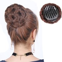 chignon venda por atacado-Sara Senhora Mulheres Cabelo Bun Chignon com Pente Plactic Hair Bun Criador Clip in Hairpiece Flor Chignon Extensão do Cabelo 15.0 cm * 10.0 cm * 10.0 cm