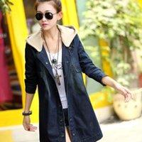 koyu mavi kadifeli toptan satış-Yeni Kadın Gevşek Kovboy Ceket Kapşonlu Uzun Kollu Kore Tarzı Koyu Mavi Pamuk Ceket Artı Kadife Kalın Kot Ceket