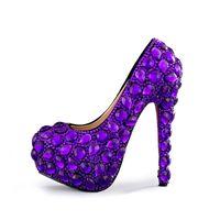 adultos tacones altos al por mayor-Mujeres zapatos de tacón alto de cristal púrpura hechos a mano de la novia de la boda del banquete de fiesta de baile bombas más el tamaño de adultos zapatos de ceremonia