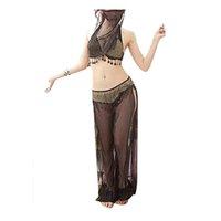 ingrosso abiti da ballo di pancia-4PCS / set Abbigliamento donna Dance Dance latina Abbigliamento costumi di danza araba con veli di alta qualità