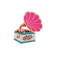 Wholesale Gifts For Music Lovers - Kawaii Brooches Pins Pink Retro Phonograph Brooch Badges Enamel Pins For Clothes Backpacks Creative Gifts for Music Lover Lapel Pin Decorate
