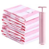 Wholesale pumps clothing - 7pcs set Vacuum Storage Bag Compressed Clothes Bag with Hand Pump Reusable Saving Space 12 wire Pink Storage Free Shipping